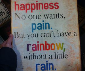 happiness, rain, and rainbow image
