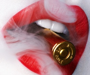 bullet, red lips, and sexy image