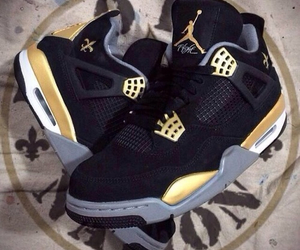 gold, jordan, and black image