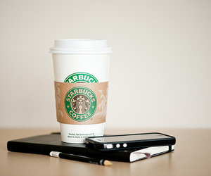 starbucks, coffee, and iphone image