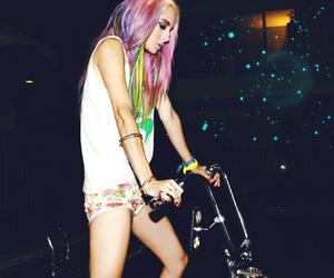girl, hair, and bike image