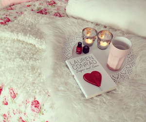 book, pink, and bed image