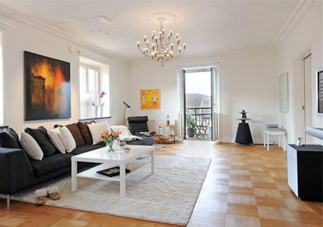 Beautiful Modern Gray Sofa White Coffee Table Apartment Interior Designs Finished With Unique Pattern Of Flooring Unit