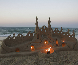 beach, castle, and sand image