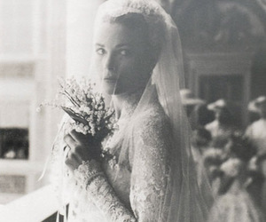 grace kelly, wedding, and black and white image
