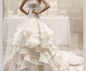 bridal gown, beautiful wedding dress, and bride image