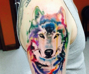 tattoo, wolf, and watercolor image