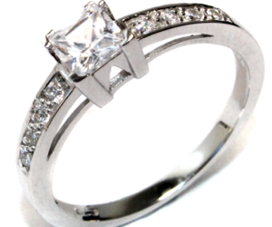 silver ring, promise ring, and princess cut promise ring image