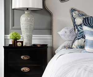 bedroom, blues, and white image