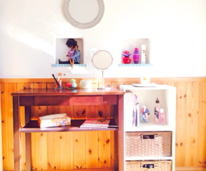 dresser, mirrors, and room image