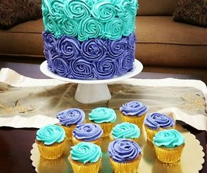 birthday, blue, and cake image