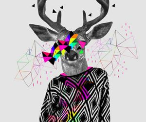 hipster, deer, and art image