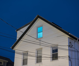 blue, light, and house image