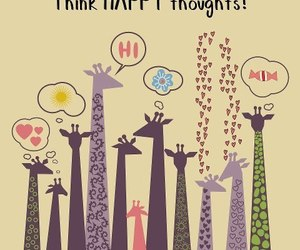 happy, giraffe, and thoughts image