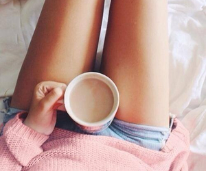coffe, girl, and pink image