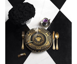 Versace, black, and gold image