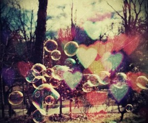 bubbles, hearts, and forest image