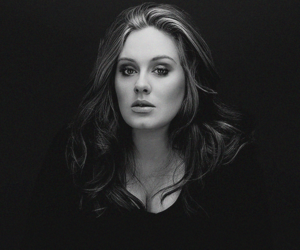 Adele, black and white, and teen wolf image