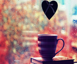 heart, rain, and cup image