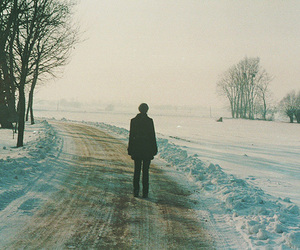 snow, alone, and boy image