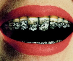 cigarette, lips, and smoke image