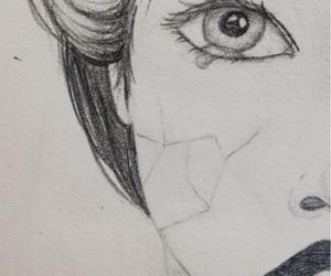 drawing, girl, and sad image