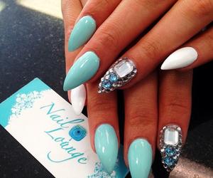 blue, diamonds, and girly image
