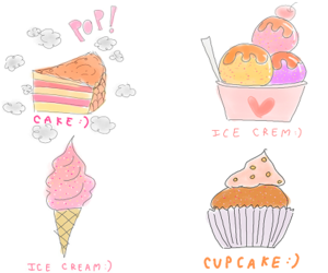 cake, ice cream, and cupcake image