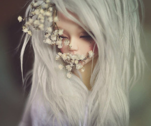 doll, flowers, and girl image