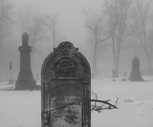 cemetery, dark, and black and white image