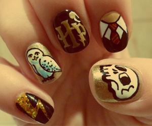 nails, harry potter, and nail art image