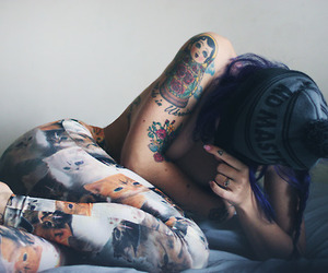 Tattoos, girl, and plum suicide image