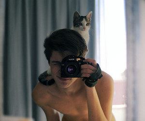 cat, lovely, and hipster boy image