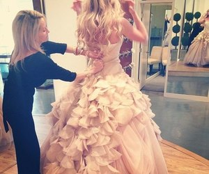 dress, wedding, and blonde image