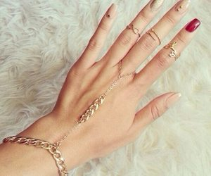 nails, gold, and hand image