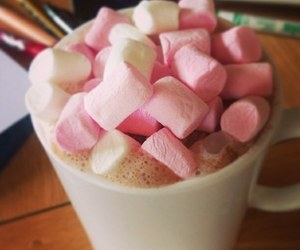 pink, marshmallow, and hot chocolate image