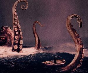 octopus, boat, and sea image