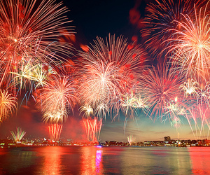 fireworks, night, and red image