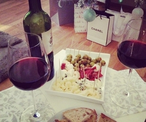 food, chanel, and wine image