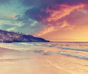 beach, sea, and sky image
