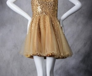 cocktail dresses, homecoming dresses, and gold prom dresses image