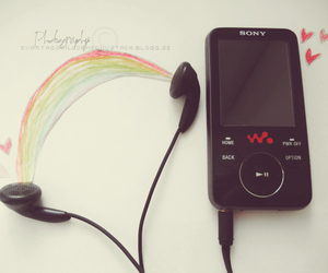 hearts, music, and ranbow image