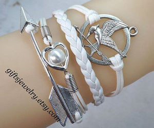 white, heart bracelet, and couple jewelry image