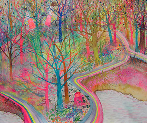 art, trees, and colors image
