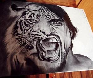 drawing, tiger, and man image
