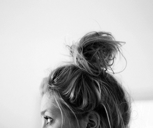 black and white, bun, and girl image