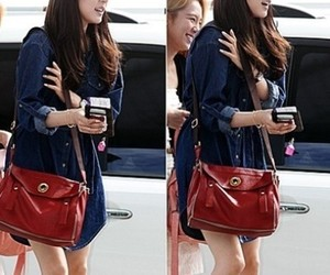 blue dress, fashion, and red bag image