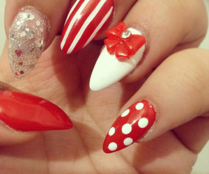 bow, glitter, and nails image