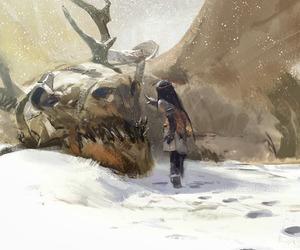dragon, girl, and snow image