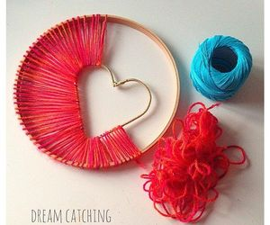 girly, red, and yarn image